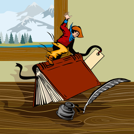 Cowboy riding a book Vector