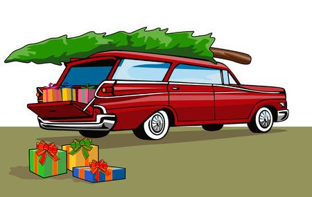 Station wagon with christmas tree