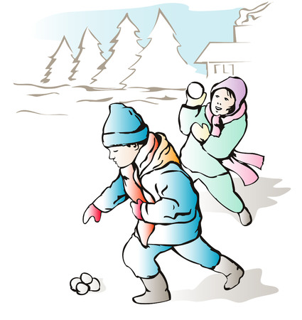 Children throwing snow balls Vector