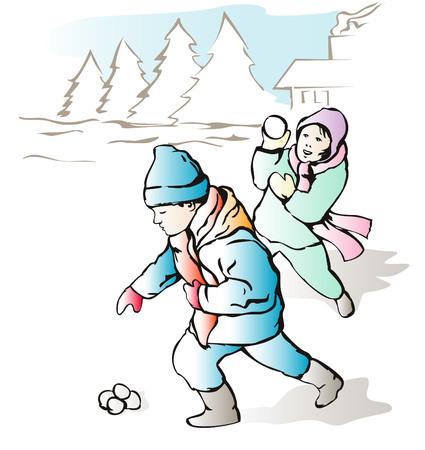 boule de neige: Les enfants de lancer des boules de neige  Illustration