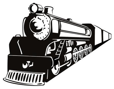 Stoomlocomotief stencil stijl Vector Illustratie