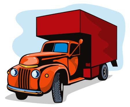 mobilhome: Vintage camion de d�m�nagement Illustration