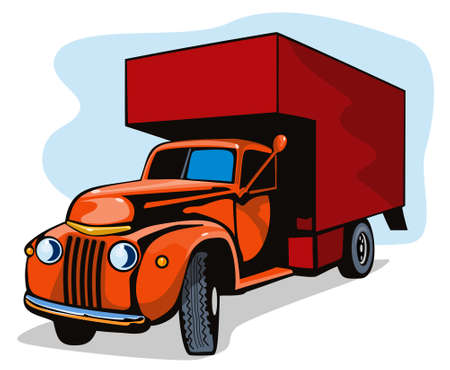 home moving: Vintage van moviendo Vectores