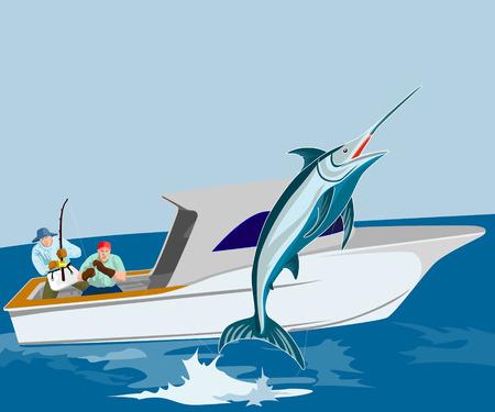 Blue marlin fishing Vector