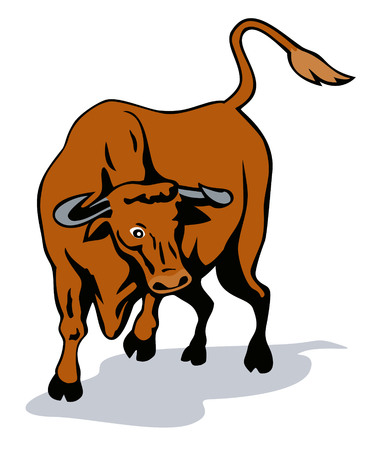 Raging texas longhorn bull Vector