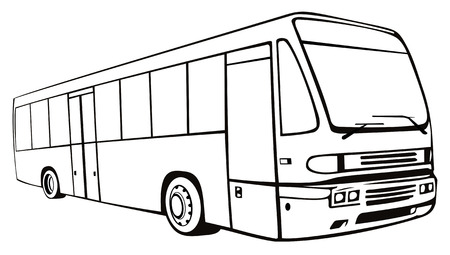 windshield: Line drawing of a coach bus