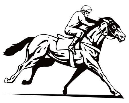 thoroughbred horse: Caballo y jinete en ganar un plazo Vectores