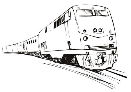 Schets stijl trein komt naar u
