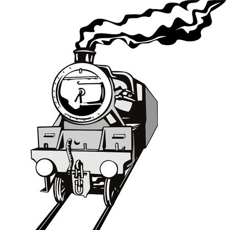 locomotora: Locomotora de vapor estarcido estilo  Vectores