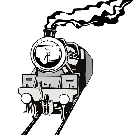 black train: Steam locomotive stencil style
