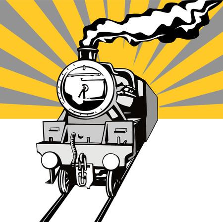 railway track: Steam locomotive stencil stijl met sunburst
