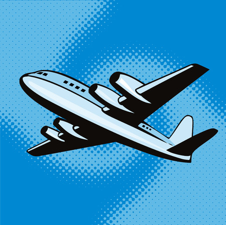 airplane landing: Propeller airplane retro style Illustration