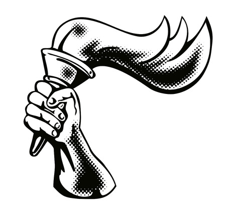 torch light: Hand with flaming torch Illustration