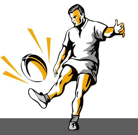kicking ball: El jugador de rugby patear el bal�n  Vectores