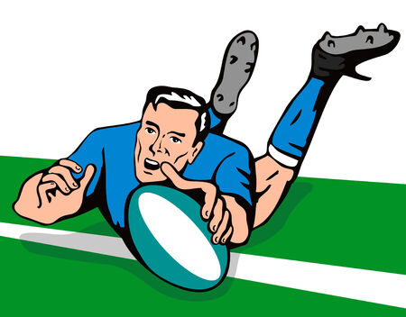 Rugby player scoring a try on turf Stock Vector - 2083420