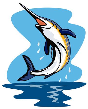 pez espada: Blue Marlin saltando