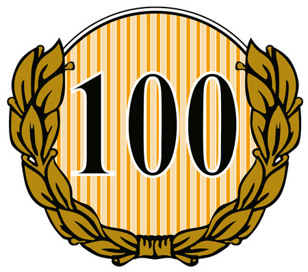 Number 100 with laurel leaves Vector