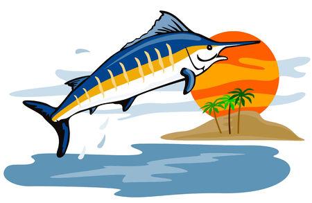 pez espada: Aguja azul saltando a la puesta del sol