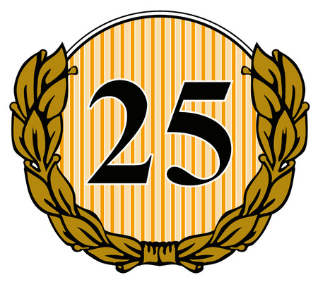 Number 25 with laurel leaves