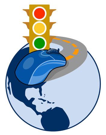 traffic signal: Souris d'ordinateur de signaux de circulation sur la plan�te