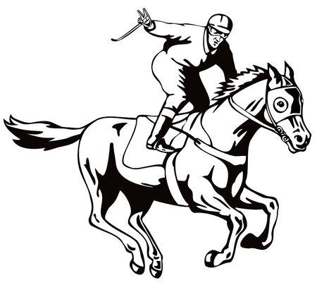 horseback: Jockey raising a victory salute