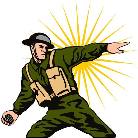 2 guerra mundial soldado tirar una granada  Ilustración de vector