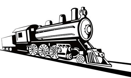 Steam locomotive stencil style Vector