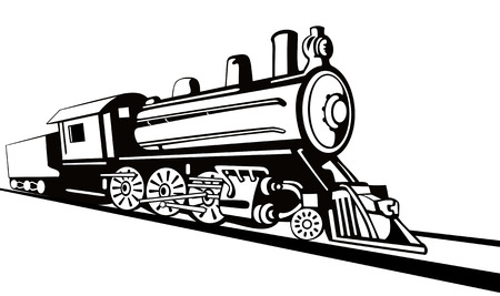 railway track: Stoomlocomotief stencil stijl Stock Illustratie