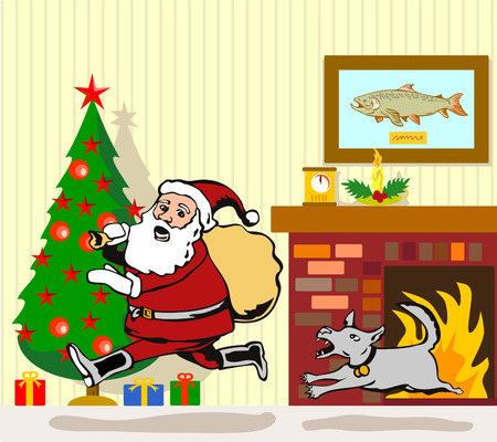 Santa being chased by a dog Vector