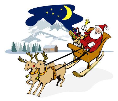saint nicholas: Rudolph tirando de Santa  's trineo