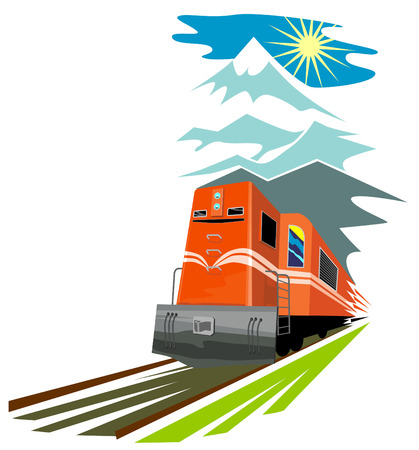 Train travelling with mountains in the background Vector