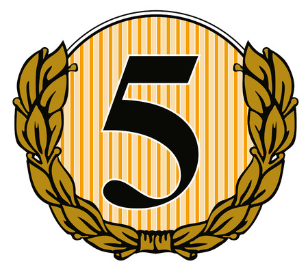 Number five with laurel leaves Vector