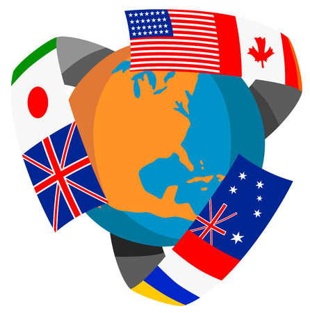 Globe with flags of the world Vector