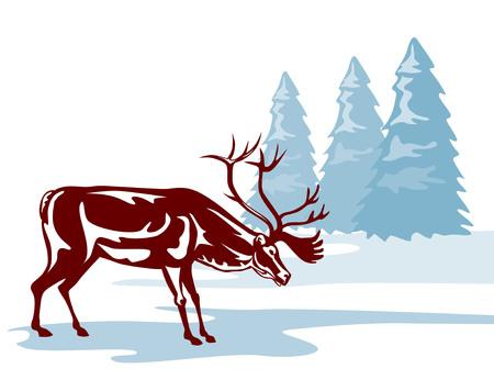 Reindeer in a winter scene Vector