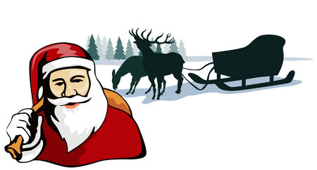 nick: Santa with reindeer and sleigh in background Illustration