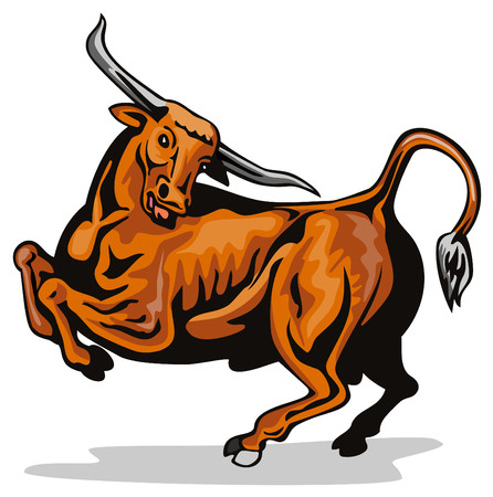 texas longhorn cattle: Raging texas longhorn bull Illustration