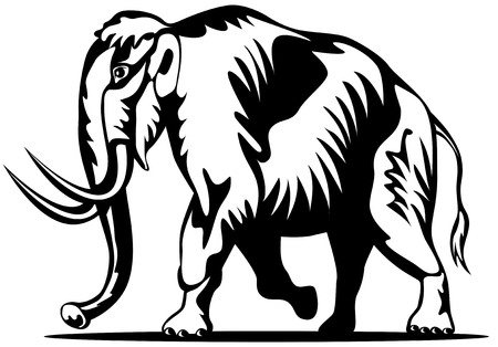 mammoth: Woolly mammoth woodcut style Illustration