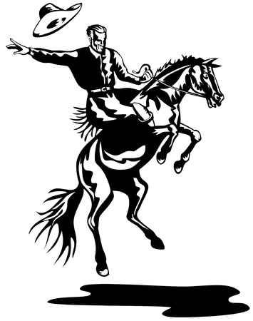 bronco: Rodeo cowboy riding a bucking bronco black and white