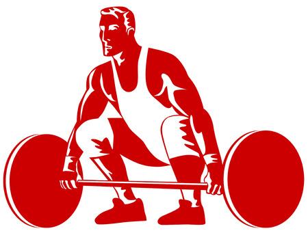levantamiento de pesas: Weightlifter levantamiento Roja  Vectores