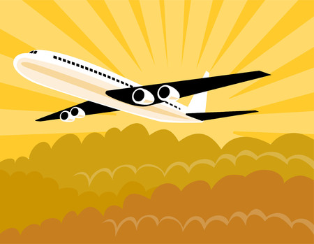 Jet plane with clouds Vector
