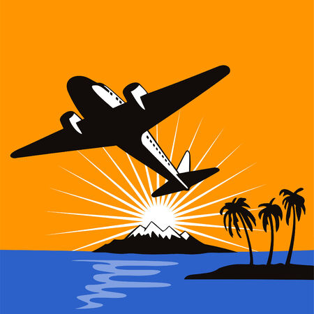Airplane flying up in the sunset Vector