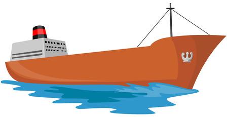 barco petrolero: Oil Tanker la vela de alta mar  Vectores