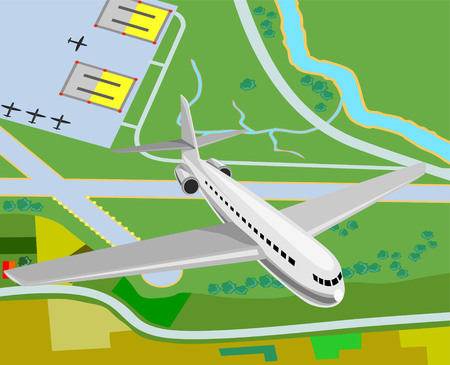 river vector: Airplane taking off from airfield Illustration
