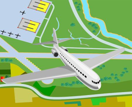 taking off: Avi�n que despegaba de aer�dromo