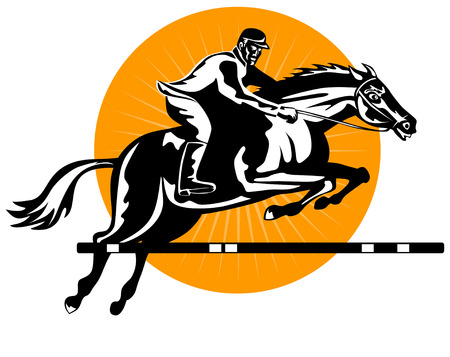 horse show: Show jumping woodcut style2