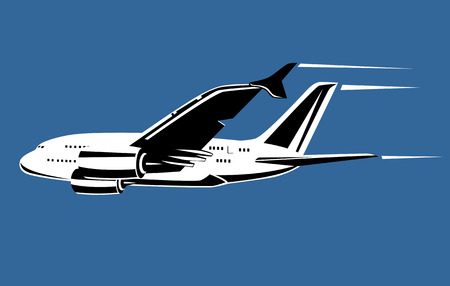 supersonic plane: Jet plane in full flight Illustration