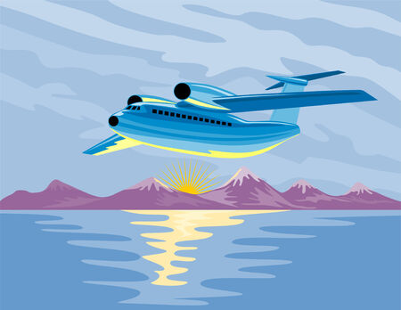 Airplane taking off with ice capped mountains Vector