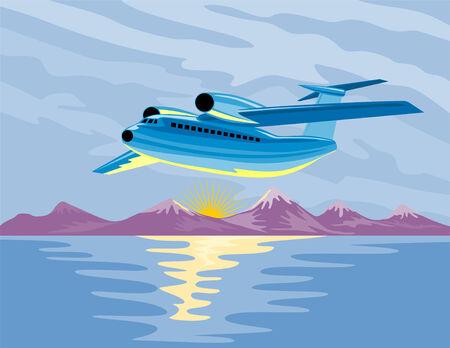 taking off: Avi�n que despeg� con un l�mite de hielo monta�as Vectores