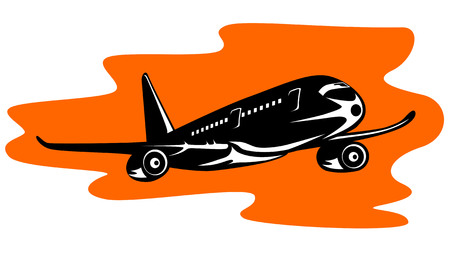 Airplane in full flight woodcut style Vector