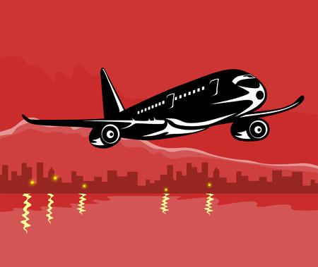 taking off: Jet avi�n que despegaba con skyscapers